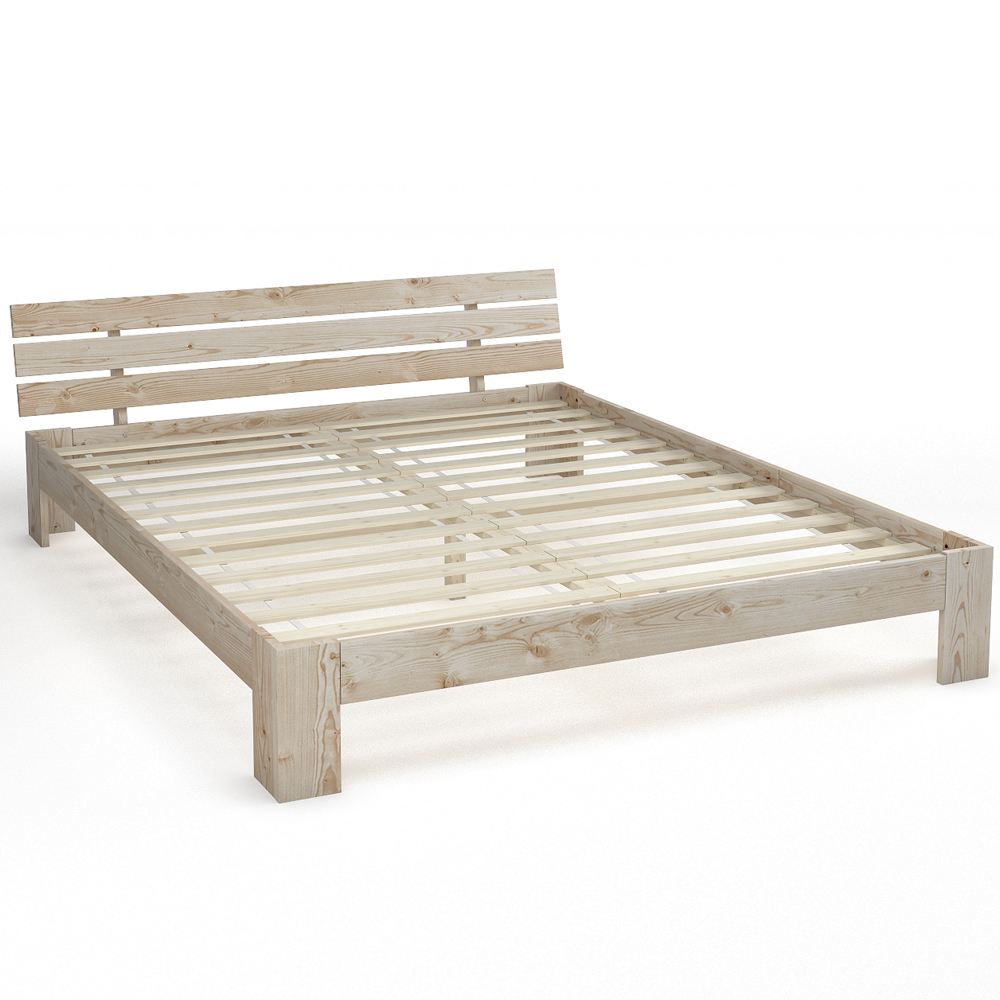 lit double en bois massif 160x200 cm cadre obuste avec sommier lattes nature ebay. Black Bedroom Furniture Sets. Home Design Ideas