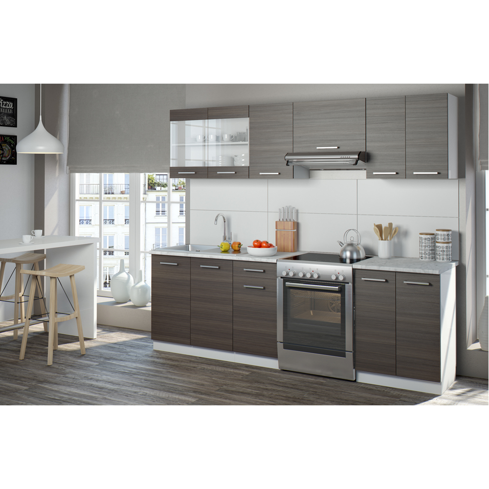 Cucina 240 cm cucina componibile cucina monoblocco cucina americana grigia - Cucina americana ...