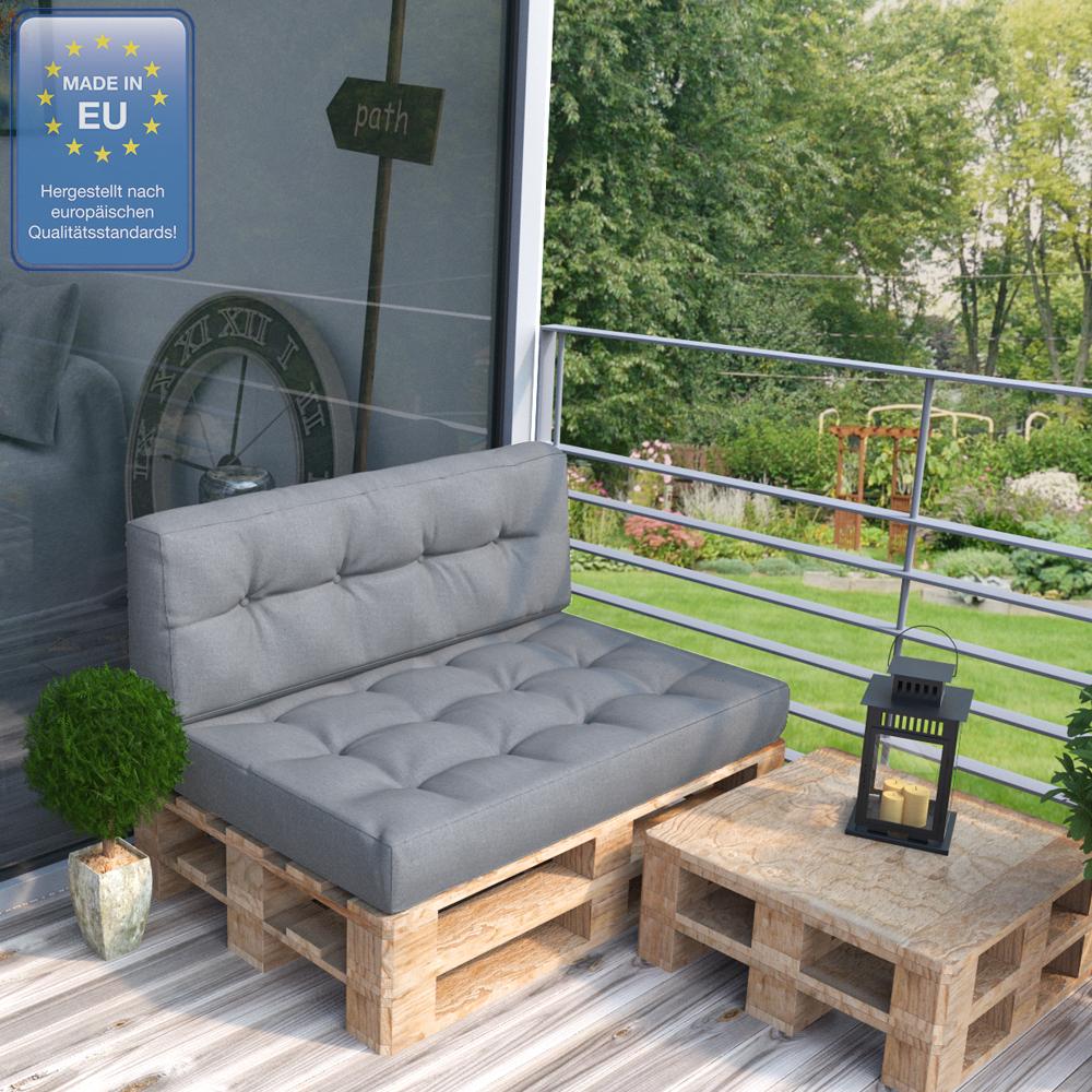 Coussin palette sofa oreiller int rieur gris ensemble 7 for Coussin sofa exterieur
