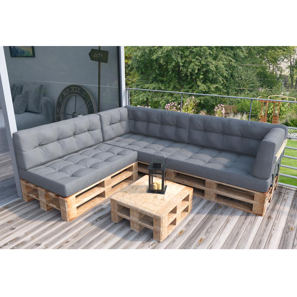 Coussin palette sofa oreiller int rieur gris ensemble 8 for Coussin sofa exterieur