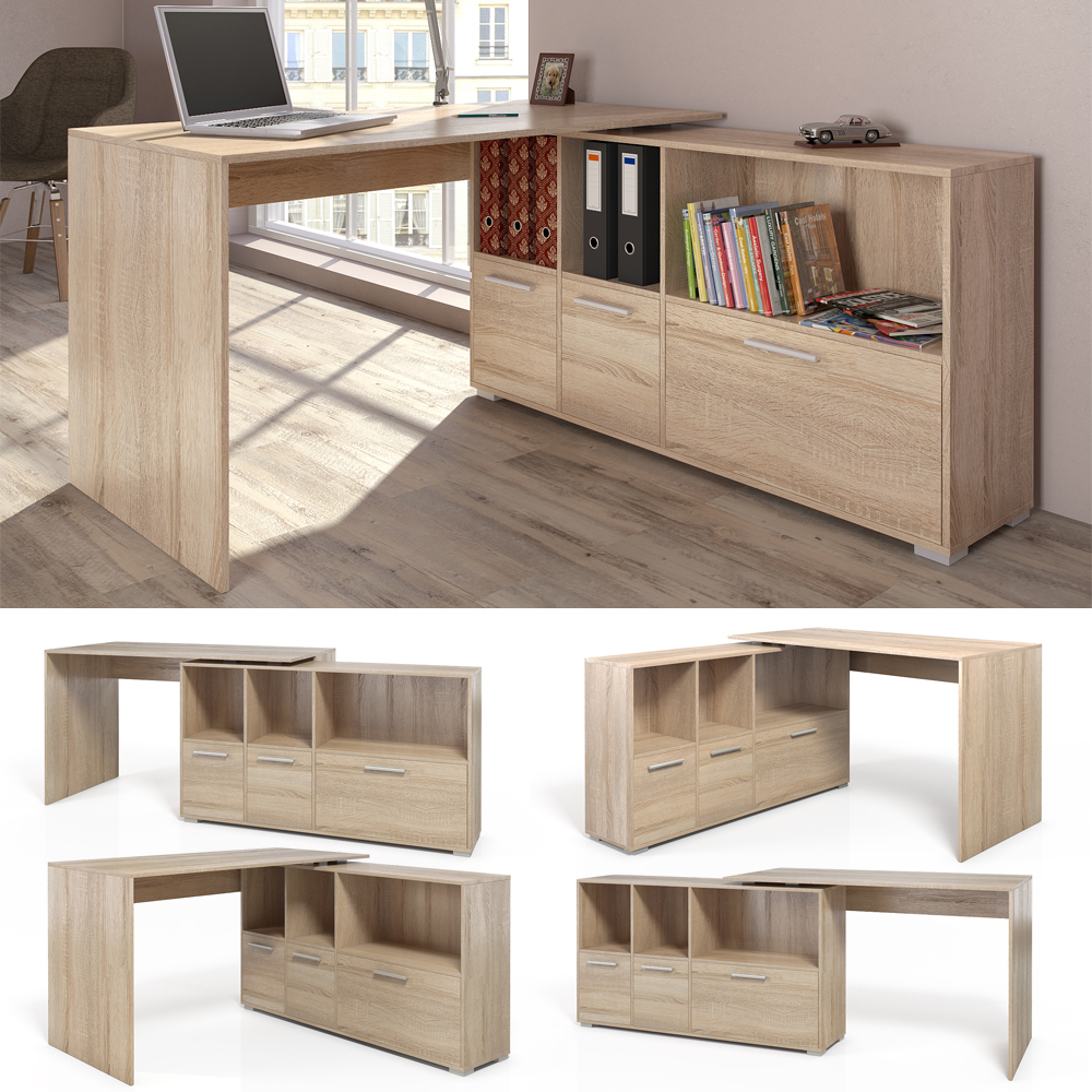 bureau en u bureau d 39 angle bureau multim dia de couleur de sonoma ch ne ebay. Black Bedroom Furniture Sets. Home Design Ideas
