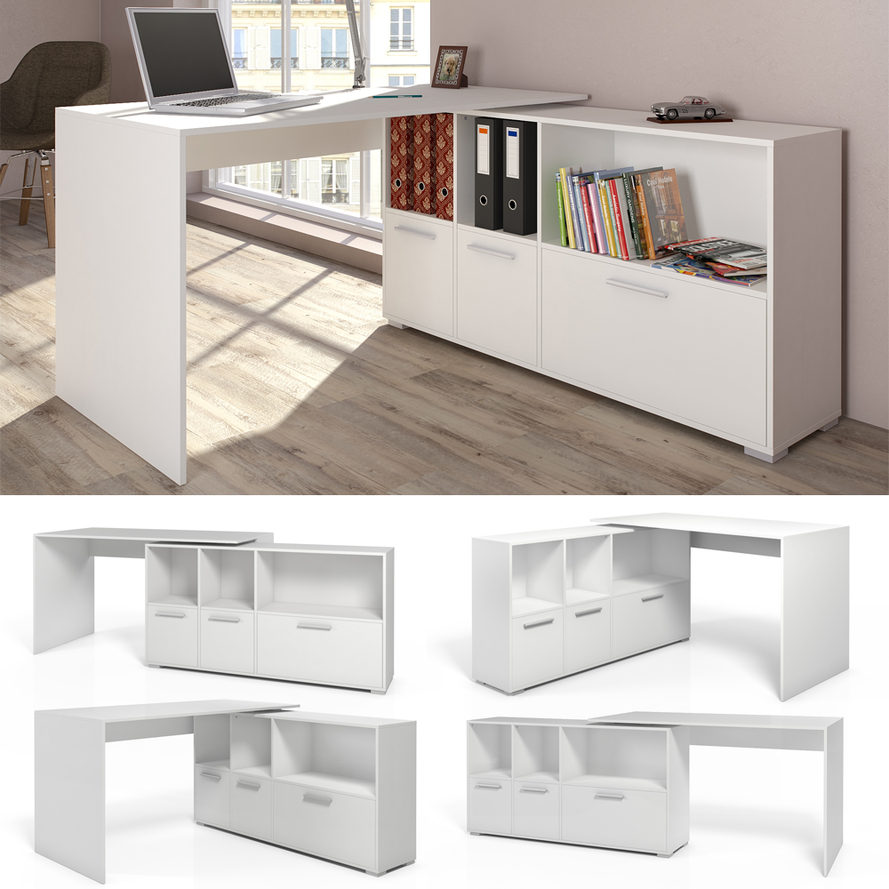 mesa de escritorio en l escritorio esquinero escritorio computadora blanco ebay. Black Bedroom Furniture Sets. Home Design Ideas