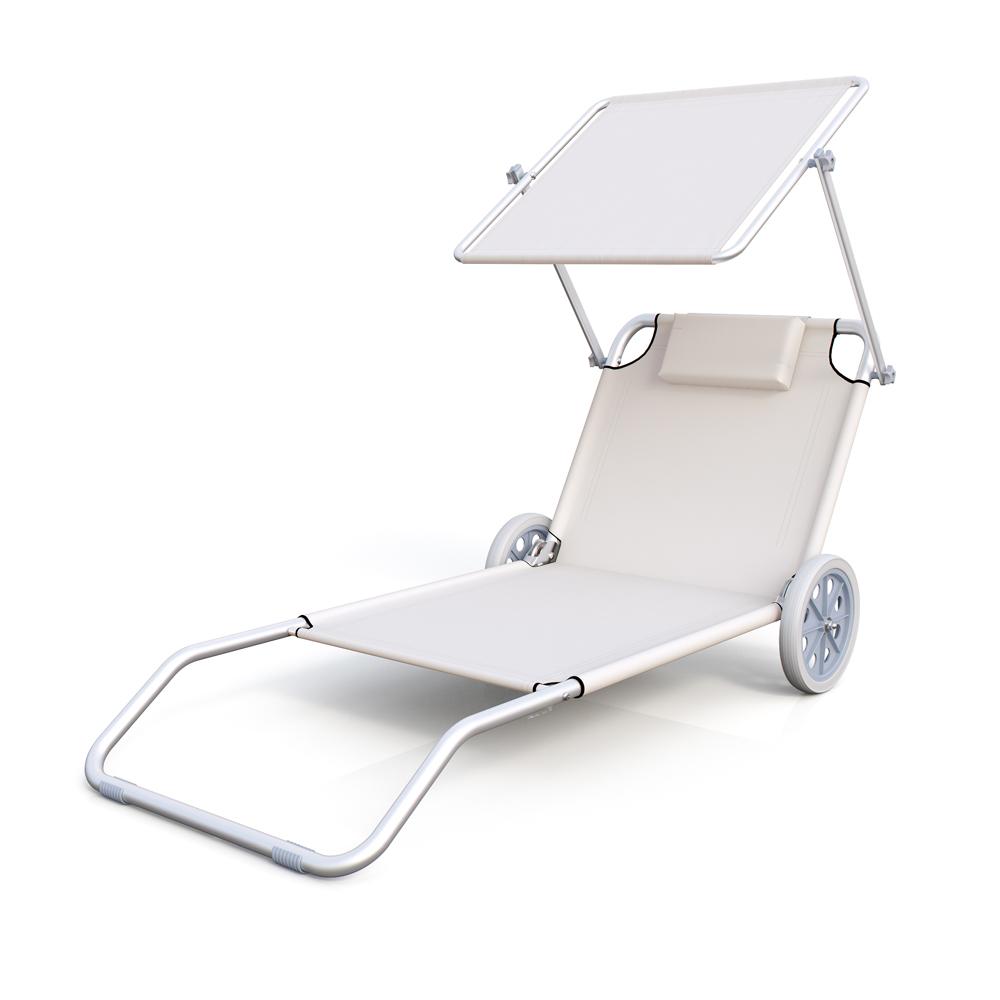 Chaise longue de plage avec roues transat de plage chariot pliable avec roues ebay - Transat plage pliable ...