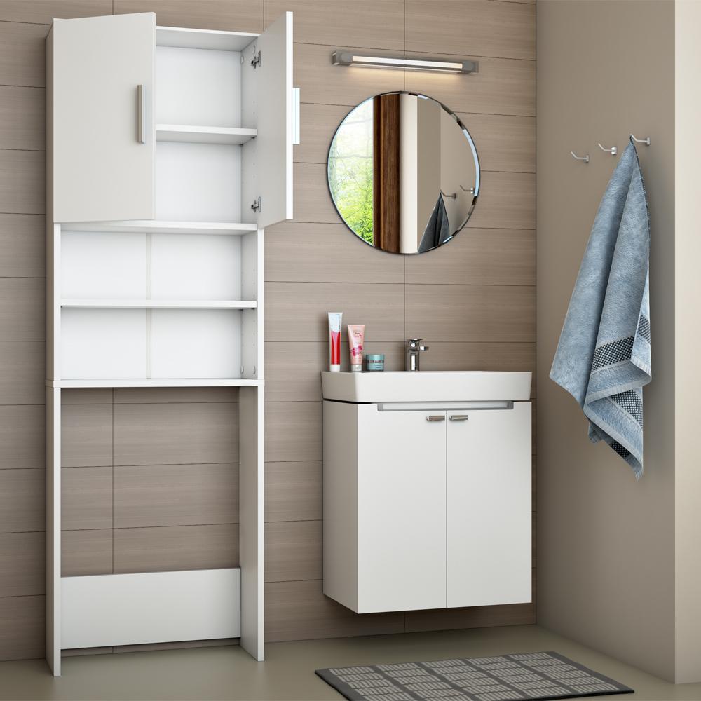 Estanter a para ba o armario alto lavadora superestructura for Meuble mural wc conforama