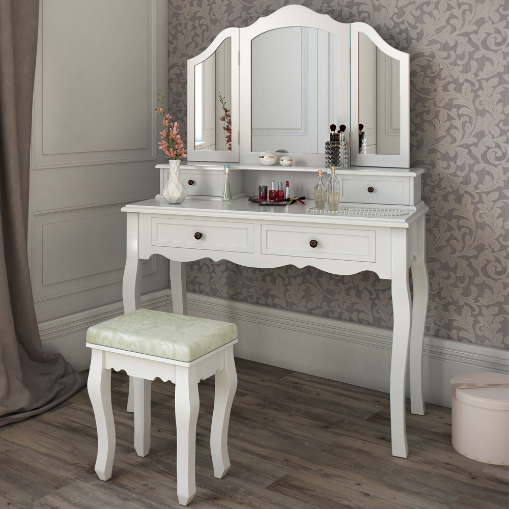 dressing table stool makeup table storage mirror bedroom vanity table ambois ebay. Black Bedroom Furniture Sets. Home Design Ideas