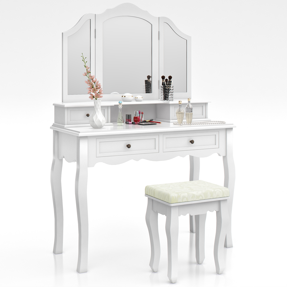 Dressing table stool makeup table storage mirror bedroom for Makeup vanity table and mirror