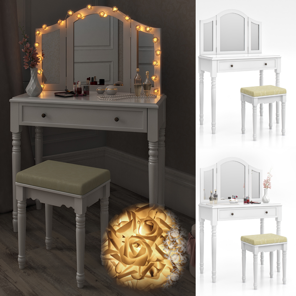 Dressing table stool makeup table storage mirror bedroom vanity table chambord ebay for Bedroom vanity table without mirror