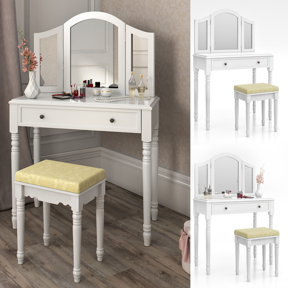 dressing table stool makeup table storage mirror bedroom vanity table chambord ebay. Black Bedroom Furniture Sets. Home Design Ideas