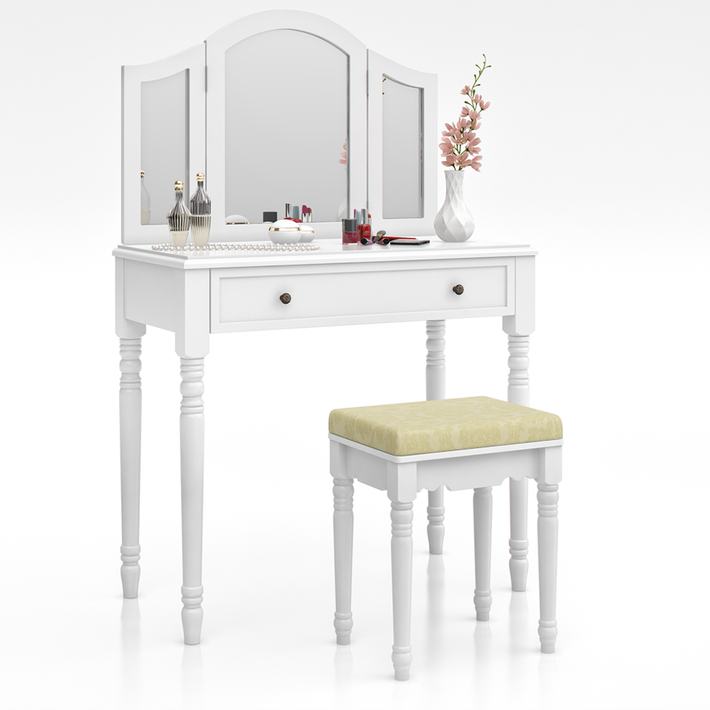 Dressing Table + Stool Makeup Table Storage Mirror Bedroom
