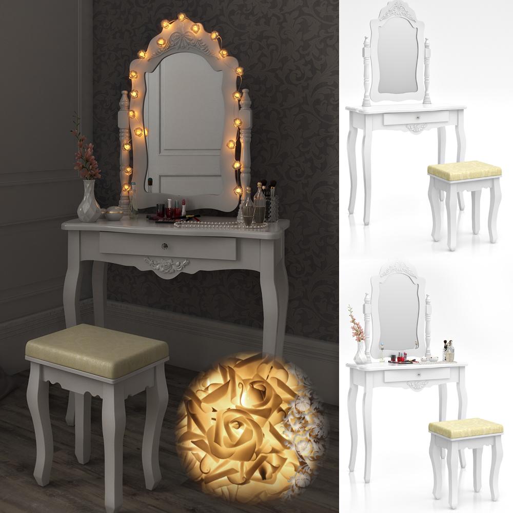 Dressing table stool makeup table storage mirror bedroom vanity table brissac ebay for Bedroom vanity table without mirror