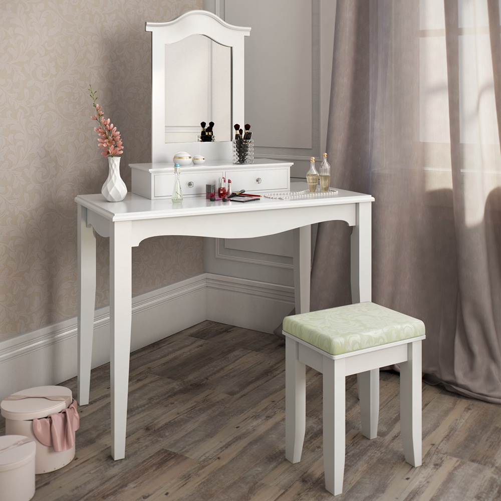 coiffeuse tabouret table de maquillage stockage miroir chambre vanit cheverny. Black Bedroom Furniture Sets. Home Design Ideas