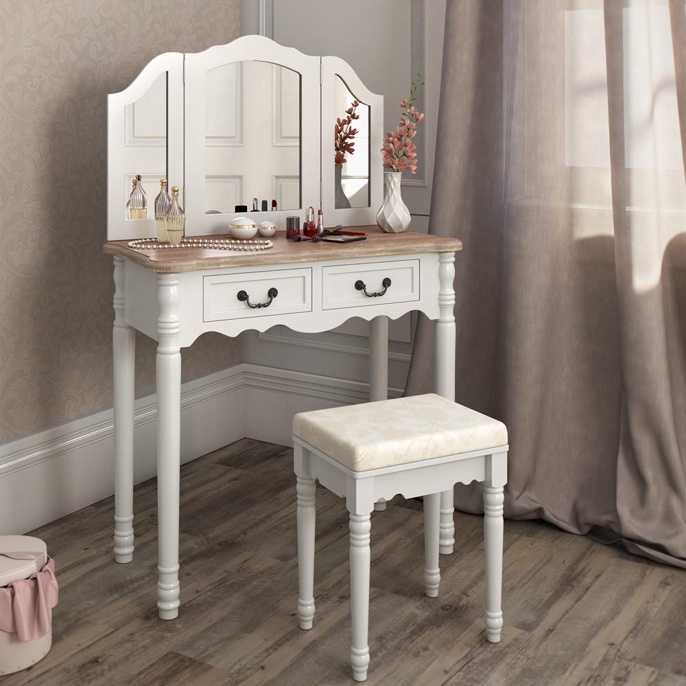 coiffeuse tabouret table de maquillage stockage miroir chambre vanit chaumont ebay. Black Bedroom Furniture Sets. Home Design Ideas
