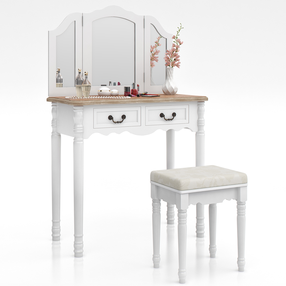 Dressing table stool makeup table storage mirror bedroom vanity table chaumont ebay - Stool for vanity table ...