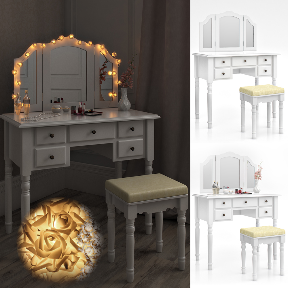 tavolo per il trucco sgabello specchio camera da letto vanit serrant ebay. Black Bedroom Furniture Sets. Home Design Ideas