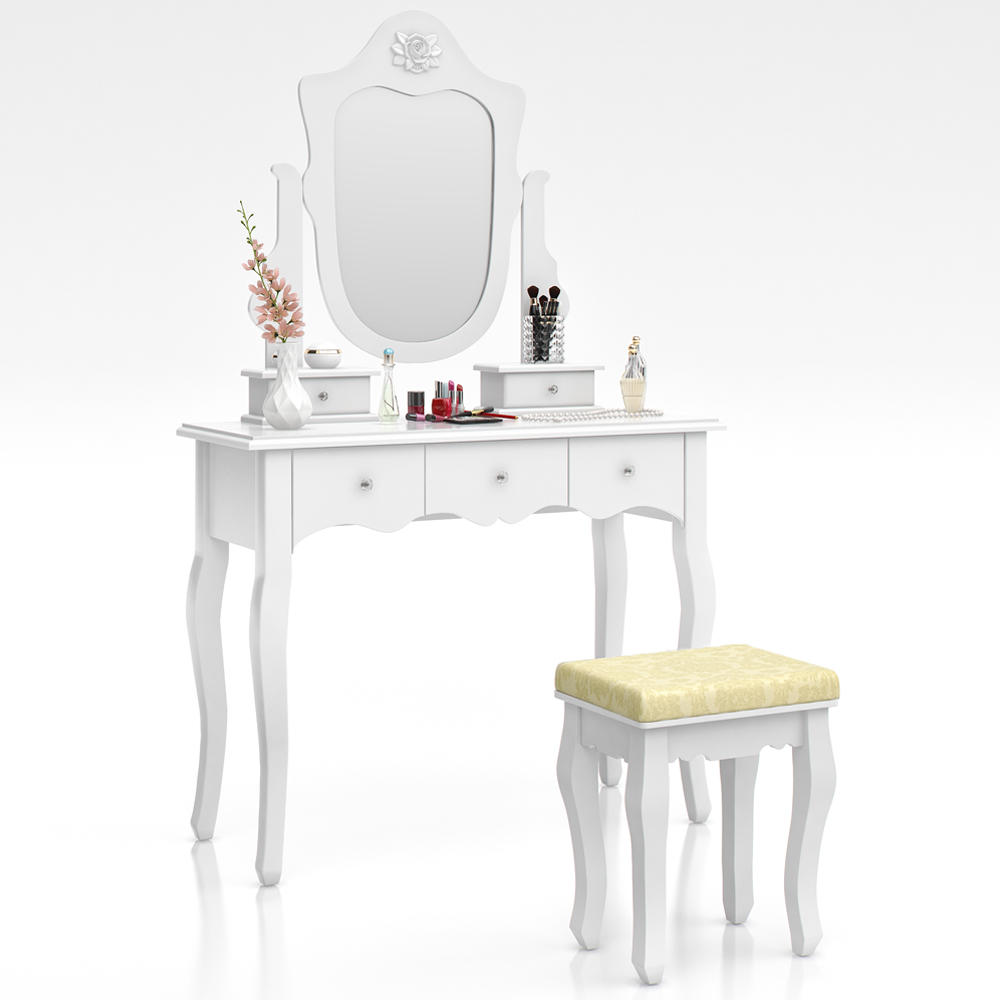 Dressing table stool makeup table storage mirror bedroom vanity table le rivau ebay - Stool for vanity table ...
