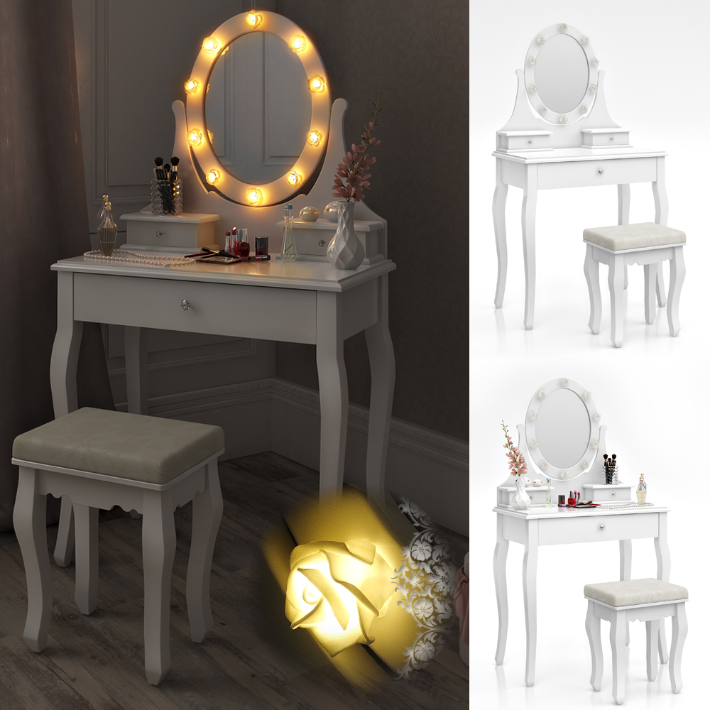 dressing table stool makeup table storage mirror bedroom vanity table villandry ebay. Black Bedroom Furniture Sets. Home Design Ideas