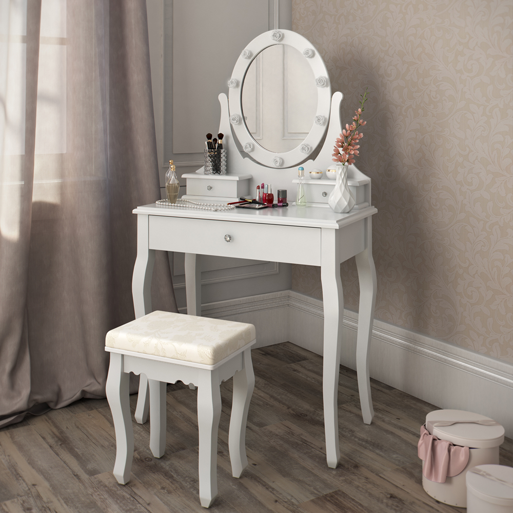 Dressing table stool makeup table storage mirror bedroom vanity table villandry ebay - Stool for vanity table ...