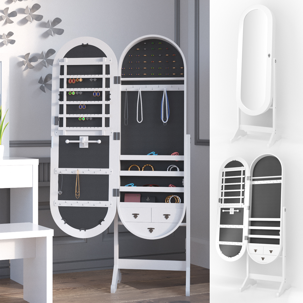 armoire bijoux armoire glace miroir pied bo te bijoux verrouillable ebay. Black Bedroom Furniture Sets. Home Design Ideas