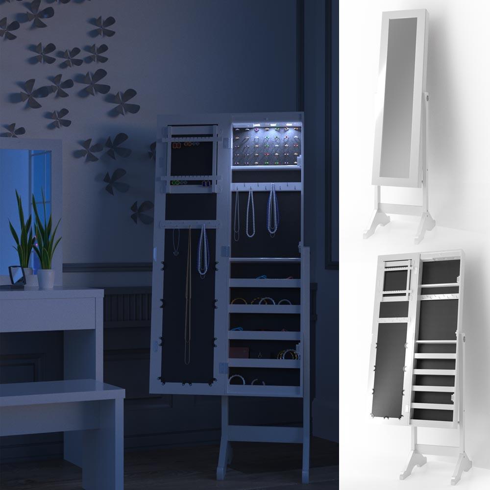 armario con espejo armario joyero iluminación LED espejo de pie joyero Louise
