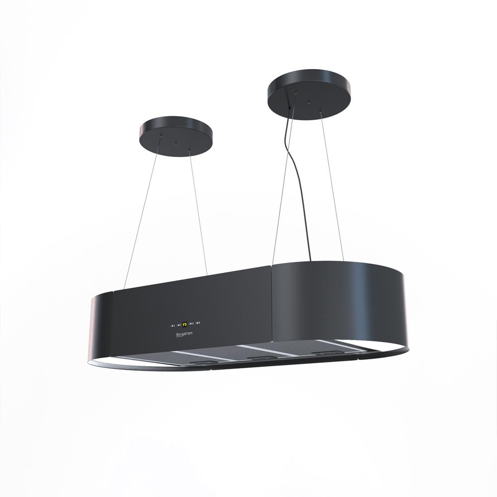 design » hotte ilot aspirante 90cm noir - cuisine design et