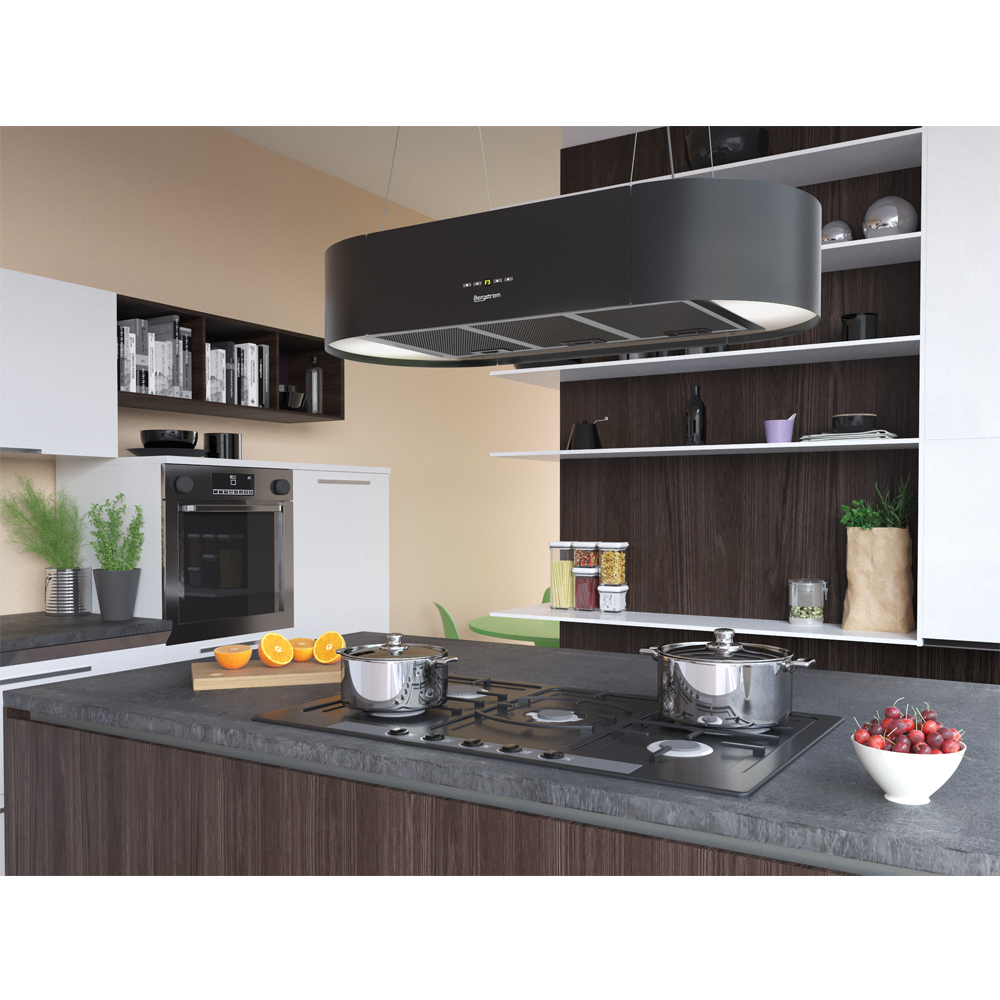 bergstroem design hotte de cuisine lot en suspension acier inox hotte noir ebay. Black Bedroom Furniture Sets. Home Design Ideas