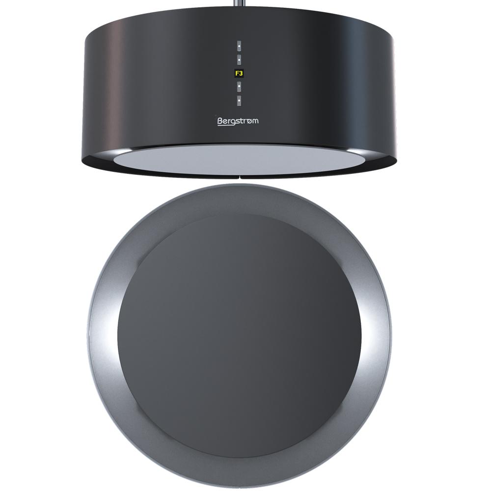 bergstroem cappa ad isola liberamente sospesa acciaio inossidabile nero ebay. Black Bedroom Furniture Sets. Home Design Ideas