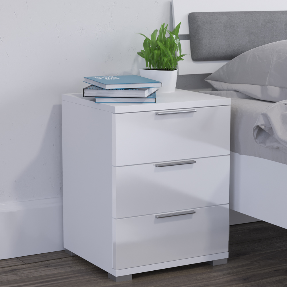 Bedside cabinet drawers nightstand cabinet storage bedroom for White bedroom cabinet