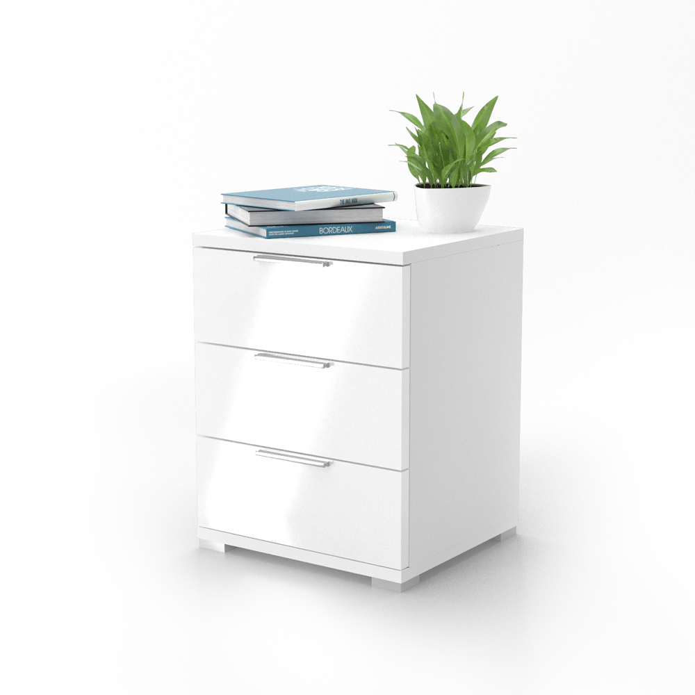 Bedside cabinet drawers nightstand cabinet storage bedroom white high gloss ebay - Drawers for bedroom ...