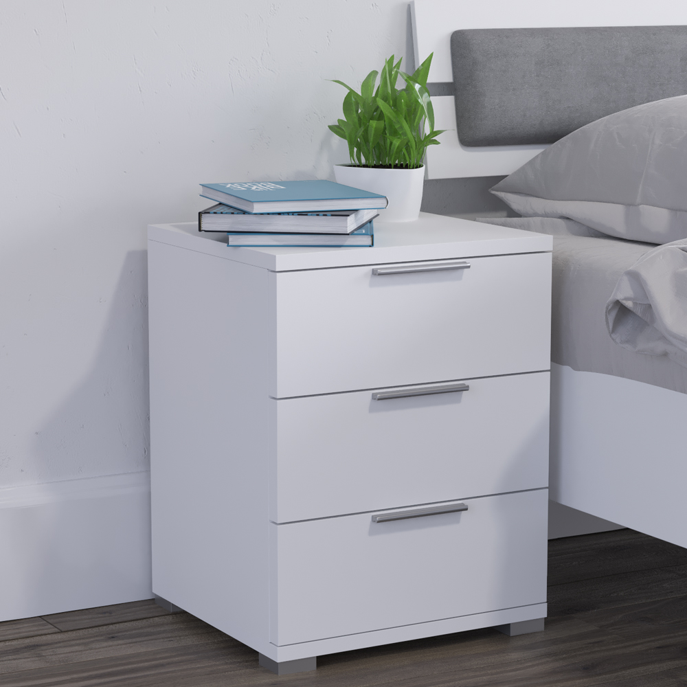 table de chevet commode table de nuit rangement chambre coucher blanc ebay. Black Bedroom Furniture Sets. Home Design Ideas