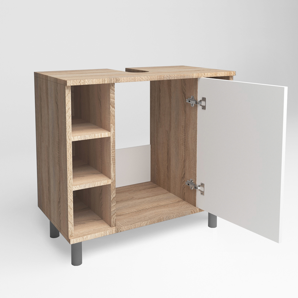 Meuble sous lavabo armoire de bain meuble sous vasque for Etagere sous lavabo salle bain