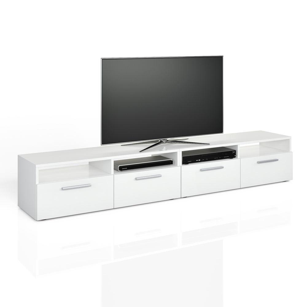 meuble bas tv armoire table pour t l viseur tag re rack blanc briquer 2 er. Black Bedroom Furniture Sets. Home Design Ideas