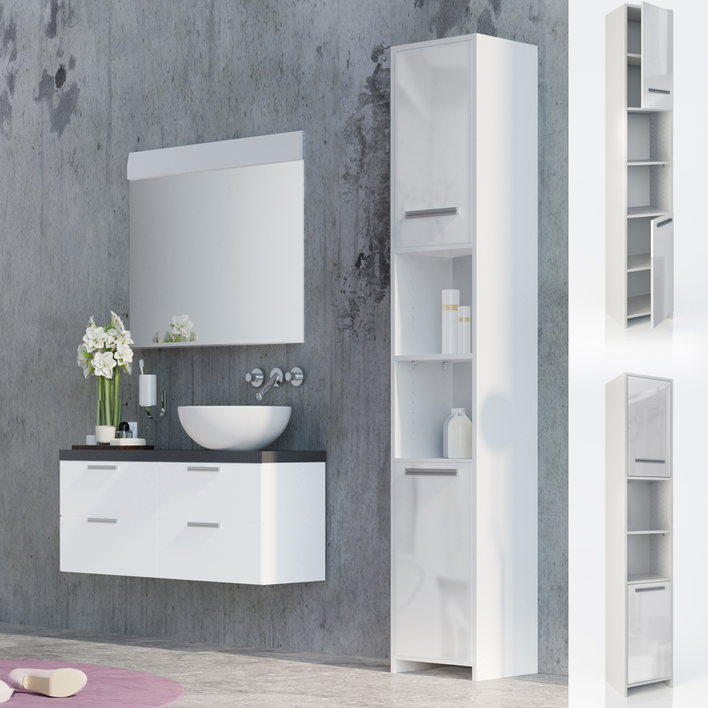 armoire de toilette armoire de salle de bains haute armoire tag re blanc ebay. Black Bedroom Furniture Sets. Home Design Ideas