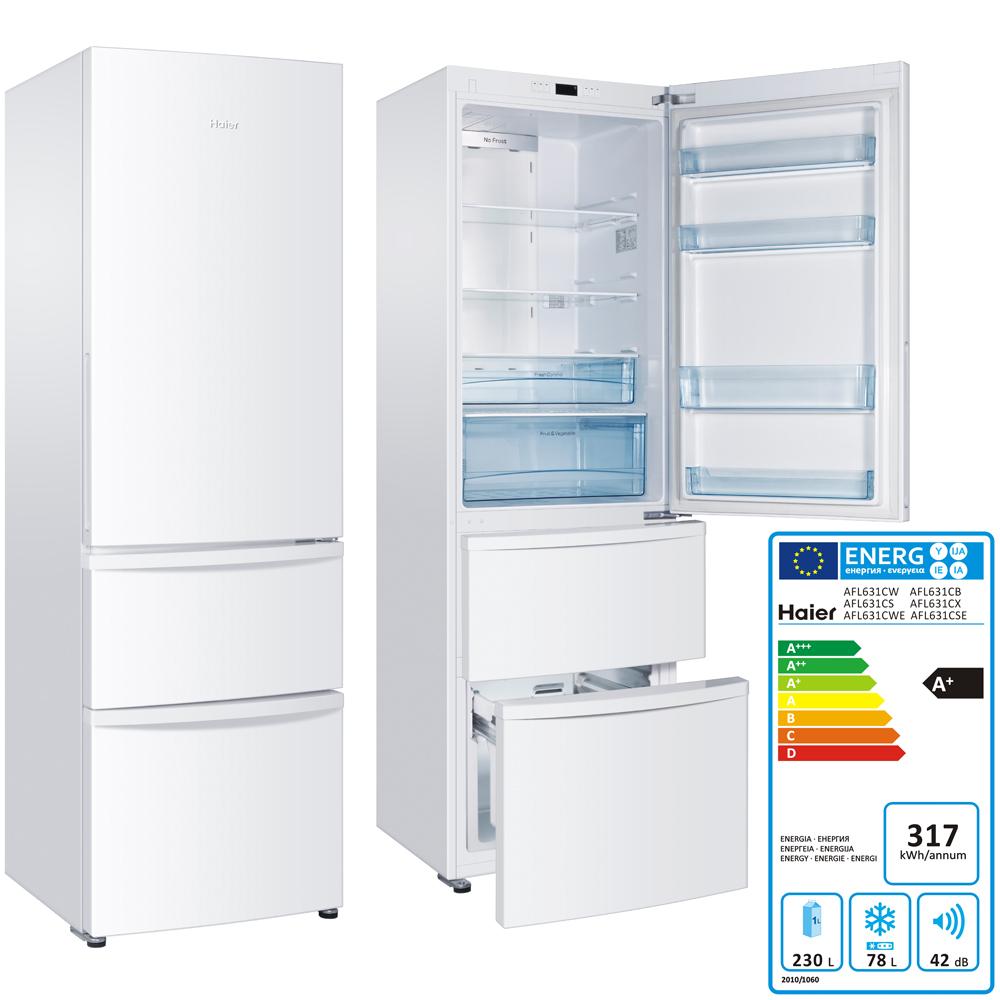 Haier fridge freezer 308 l a energy efficiency led white for Energy efficient brands