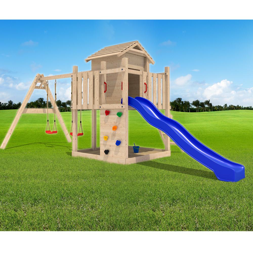 Gigantico ii casa da gioco in legno con altalena scivolo con accessori ebay for Juegos de jardin divino