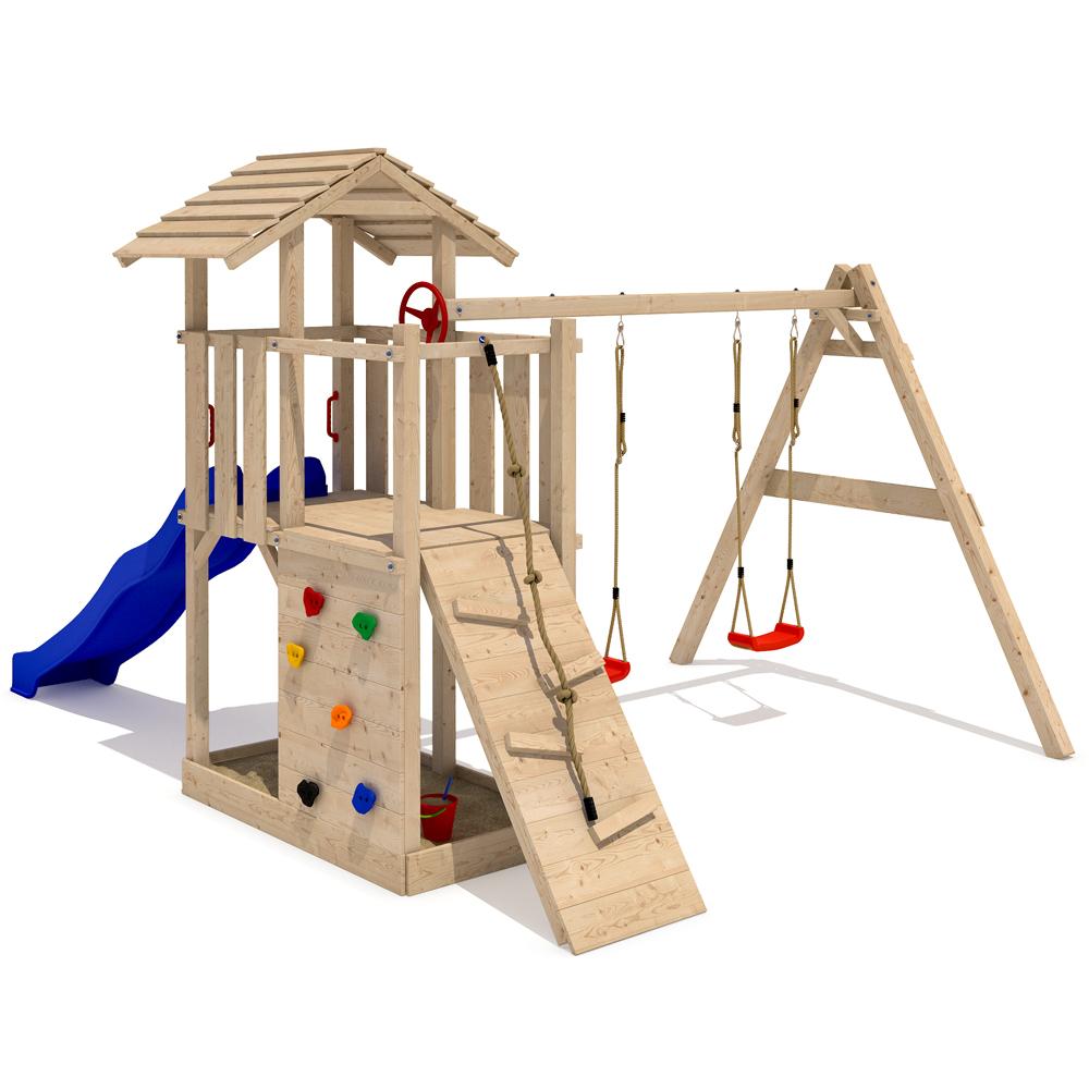 Empire ii casa da gioco in legno rampicante torre scivolo 2 altalene accessori t ebay for Juegos para jardin nios