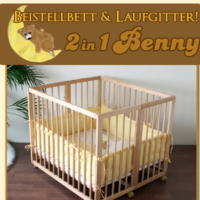 beistellbett laufgitter 2 in 1 benny inkl einlage in gelb ebay. Black Bedroom Furniture Sets. Home Design Ideas