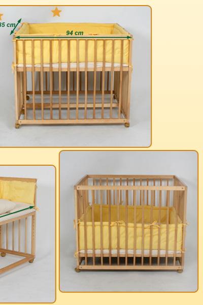 baby beistellbett laufgitter 2 in 1 benny inkl himmel einlage in gelb ebay. Black Bedroom Furniture Sets. Home Design Ideas