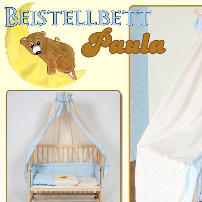 beistellbett babybett stillbett inkl bettset blau ebay. Black Bedroom Furniture Sets. Home Design Ideas
