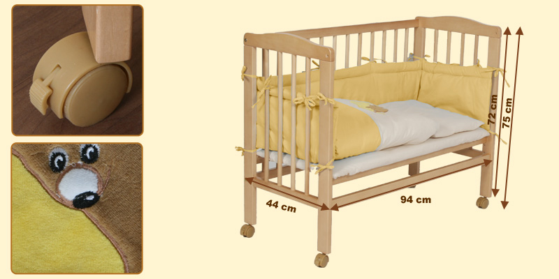 baby beistellbett kinder bett 2 in 1 polly inkl himmel einlage in gelb. Black Bedroom Furniture Sets. Home Design Ideas