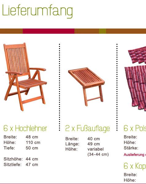 Gartenmobel Weiss Alu :  Akazie Sitzgarnitur Holzmöbel Gartentisch Klappstuhl Auflagen Rot