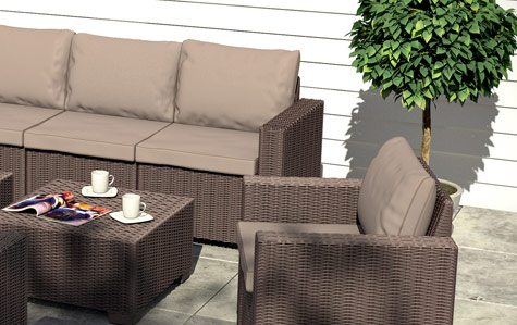 allibert california gartenm bel lounge rattanoptik sitzgruppe kunststoff braun ebay. Black Bedroom Furniture Sets. Home Design Ideas