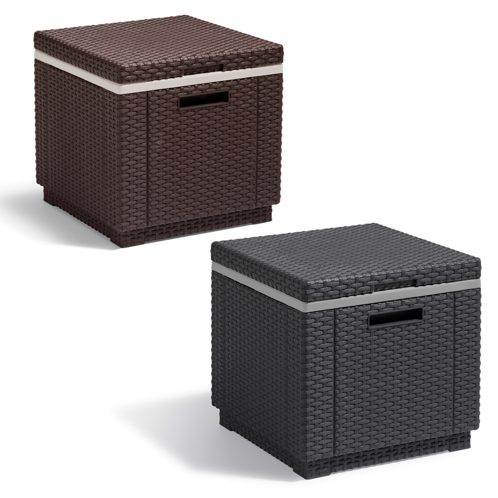 poly rattan tisch beistelltisch hocker k hlbox box braun anthrazit rattanoptik ebay. Black Bedroom Furniture Sets. Home Design Ideas
