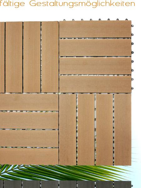wpc holzfliesen terrassenfliesen holzfliese 30x30 cm 1m terrasse balkon garten ebay. Black Bedroom Furniture Sets. Home Design Ideas