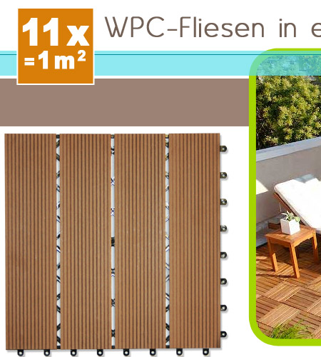 wpc holzfliesen terrassenfliesen holzfliese 30x30 cm 1m terrasse balkon garten ebay. Black Bedroom Furniture Sets. Home Design Ideas